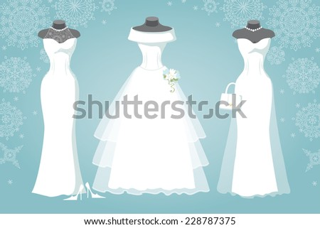 winter bridal shower three wedding dresses with long skirt wear for mannequinfalling snowflake