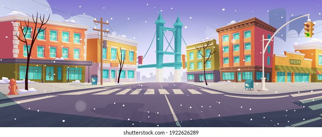 Winter Brooklyn crossroad and bridge city view, empty street with transport intersection and zebra, Urban architecture, megapolis infrastructure with snow and bare trees. Cartoon vector illustration