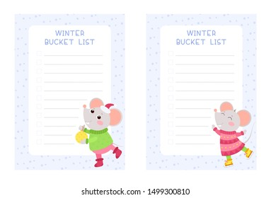 Winter bucket lists flat vector templates set. Little mouse skating winter poster and holding a christmas toy cartoon characters. Weekly and daily planner pages designs pack