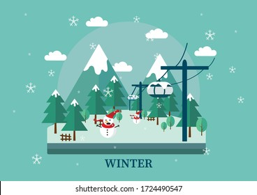 The Winter Cable Car Illustration