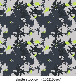 Winter camouflage, vector pattern. Classic urban style, masking camo repeat print. Grey, black and neon green colors winter ice camoflage texture. Wallpaper, backdrop, cover etc.