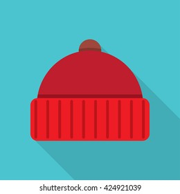 Winter cap icon flat icon. vector illustration. Flat icon isolated with long shadow.