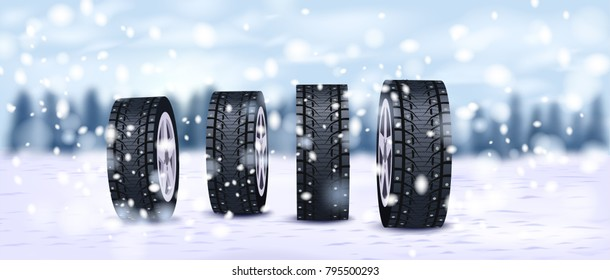 Winter car tires on snow background vector illustration