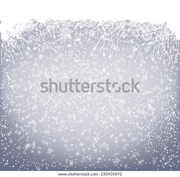 Winter card. Border made of frozen flowers and snowflakes on blue background with falling snow space for text.