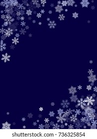 Winter card border of snow flakes falling vector background. Snowflake flying border macro illustration,card or banner with snow elements, flakes confetti scatter frame. Cold weather winter symbols.