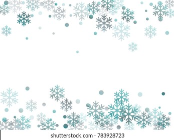 Winter card border of snow flakes falling vector background. Snowflake flying border macro illustration, card or banner with snow elements, flakes confetti scatter frame. Cold weather winter symbols.