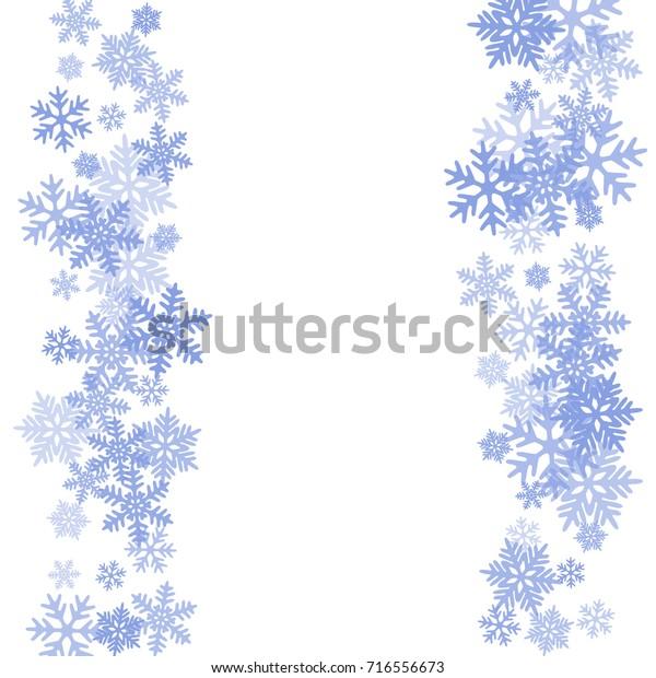 winter card border snow flakes falling stock vector