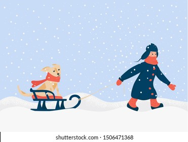 Winter card. Children's composition, sketch. The boy carries a dog on a sled. Illustration of winter, happiness, childhood, snowdrifts. Vector concept isolated on white background. Art drawing.