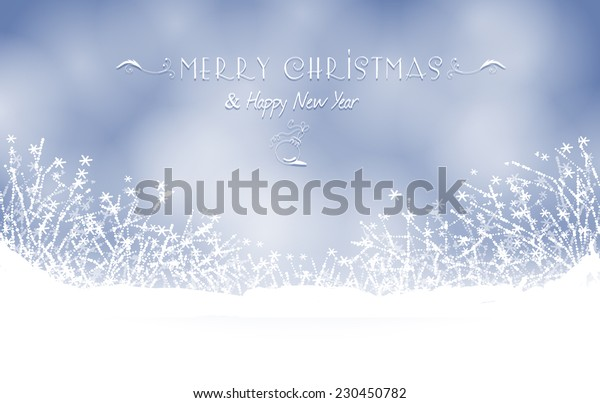 Winter card. Christmas background with snowflakes and  frozen flowers on soft blue sky.