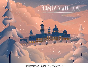 Winter card with evening Lviv