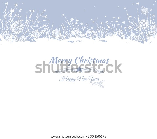 Winter card. Frozen flowers and snowflakes on blue background with space for text.