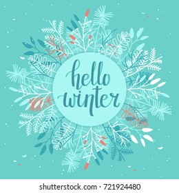 Winter Card with Leaves and Branches - Mint Background
