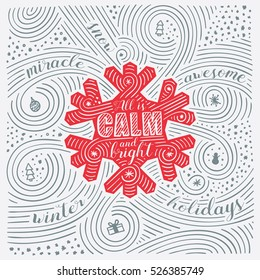 Winter Card. The Lettering - All Is Calm And Bright. New Year / Christmas Design. Handwritten Swirl Pattern. Vector Illustration.