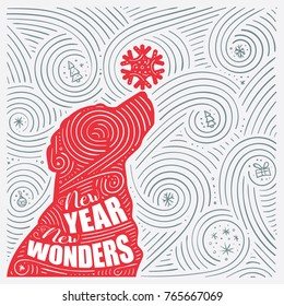 Winter Card. The Lettering - New Year New Wonders. New Year Of The Dog / Christmas Design. Handwritten Swirl Pattern. Vector Illustration.