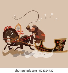 Winter carriage for horse driven village man  in a sheepskin coat. Vector illustration.
