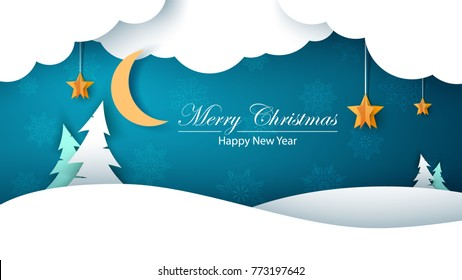 Winter cartoon paper landscape. Fir, moon, cloud, star, snow. Merry christmass Happy new year Vector eps 10