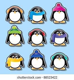 Winter cartoon penguin stickers. EPS10 vector format.