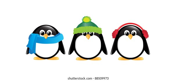 Winter cartoon penguins isolated on white. EPS10 vector format.