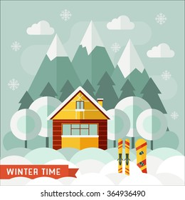 Winter chalet under falling snow. Winter vacation flat landscape. Family weekend in wooden house on the forest mountain area. Winter sports snowboarding and ski resort concept.