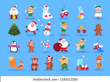 Winter characters. Cartoon santa, elves and winter christmas animals, snowman and kids. Winter christmas holiday vector set. Character christmas, santa and animal, xmas deer and gift illustration