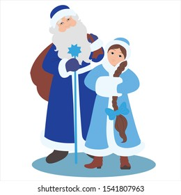 Winter characters for the New Year.  Ded Moroz and Snegurochka.