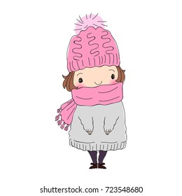 Winter Chibi Character Cute Girl In Sweater Scarf and Hat Vector Illustration