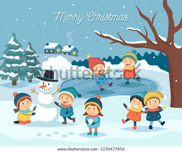 Winter Children Scene Kids Playing Outdoor Stock Vector