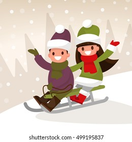 Winter children's games. Boy and girl sledding down the hills. Vector illustration of a flat design