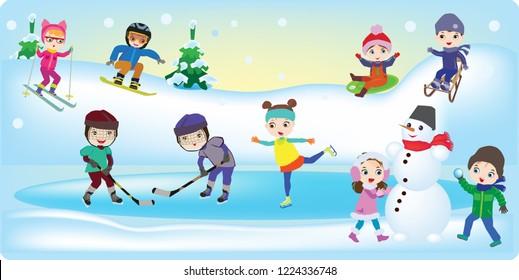 winter children's games skiing sleds hockey game snowballs snowman snowboarding