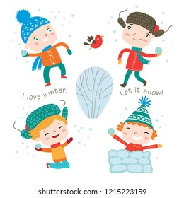 Winter child's outdoor activities. Happy childhood. Vector set on a white background.