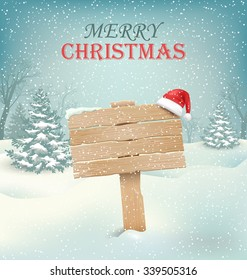 Winter Christmas Background with Wooden Signpost and Santa Hat