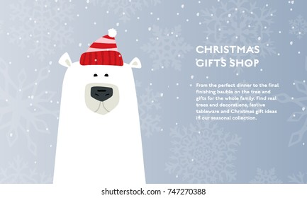 Winter Christmas concept vector flat poster design. Illustration for gift shop with polar bear in hat and place for text