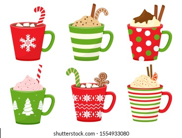 Winter Christmas cups with drinks. Holiday mugs with hot chocolate, cocoa or coffee, and cream. Gingerbread man cookie, candy cane, cinnamon sticks, marshmallows. Vector illustration