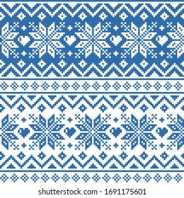 Winter, Christmas Fair Isle style traditional knitwear vector seamless geometric pattern with snowflakes, hearts