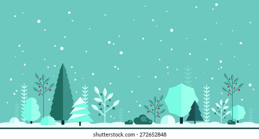 Winter Christmas forest flat panorama background. Simple and cute landscape for app, web, game design.