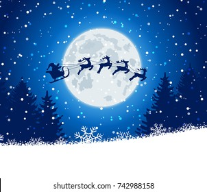 Winter christmas forest with Santa Claus rides