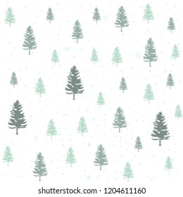 Winter christmas forest, vector illustration