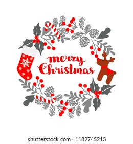 Winter Christmas frame, vector illustration. Christmas greeting card with wreath, Christmas socks and deer. Perfect for Christmas and New Year greetings, invitation. Vector hand drawn illustration