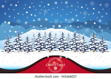 Winter and Christmas Landscape, Background. Snowflakes, Pine Trees, Snow, Hills Illustration, Elegant Greeting Card Design. Presentation Section Template