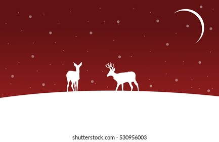 Winter Christmas landscape deer on hill silhouettes vector