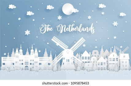 Winter and Christmas in The Netherlands with landmark, city, windmill and falling snow. Paper cut style vector illustration.