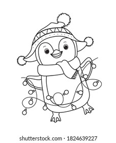 Winter Christmas penguin for coloring book.Line art design for kids coloring page. Vector illustration. Isolated on white background