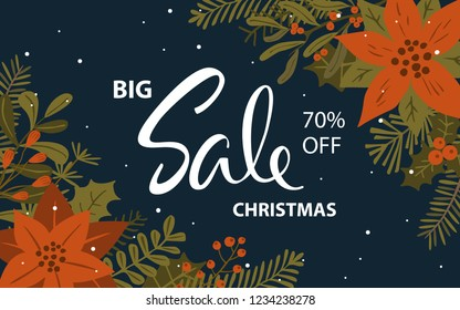winter christmas promotional sale banner with xmas foliage red flowers twigs berries background
