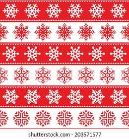 Winter, Christmas red seamless pattern with snowflakes