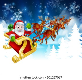 Winter Christmas scene of cartoon Santa in his reindeer sled or sleigh. Fades to white at the bottom for easy use as border design or header.