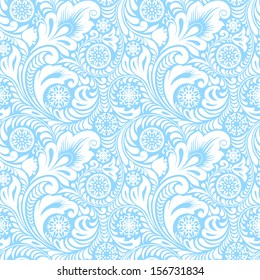 Winter Christmas seamless pattern. Frosty patterns. Ornament with snowflakes. Blue and white.