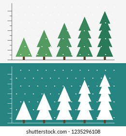 Winter or christmas theme simple infographic template with snowy forest.