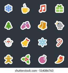 Winter and Christmas vector stickers icon set on dark background. Flat style labels collection. Good for scrapbook, diary, creativity use.