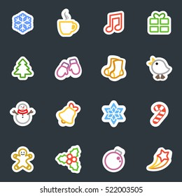 Winter and Christmas vector stickers icon set. Contour style winter and Christmas labels collection. Good for scrapbooking, diary, creativity use.
