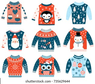 Winter and Christmas vector ugly and cute sweaters in flat style in blue and red colors with owl